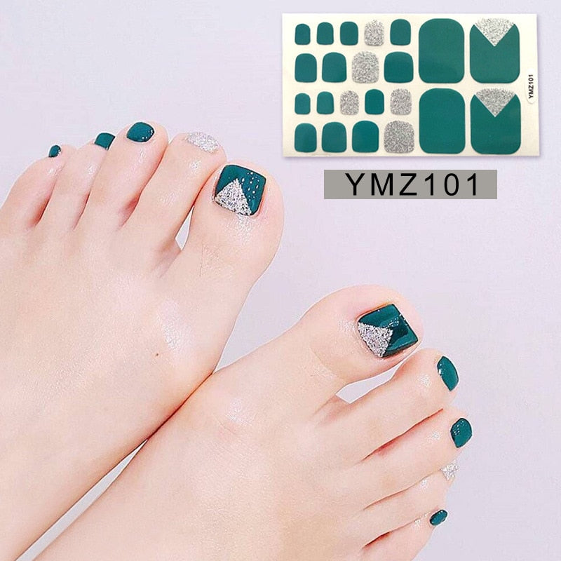 1 Sheet Glitter Solid Patterns Toe Nail Polish Wraps Adhesive Fashionable Stickers Waterproof Toenail Ongle Tips for Women Kids