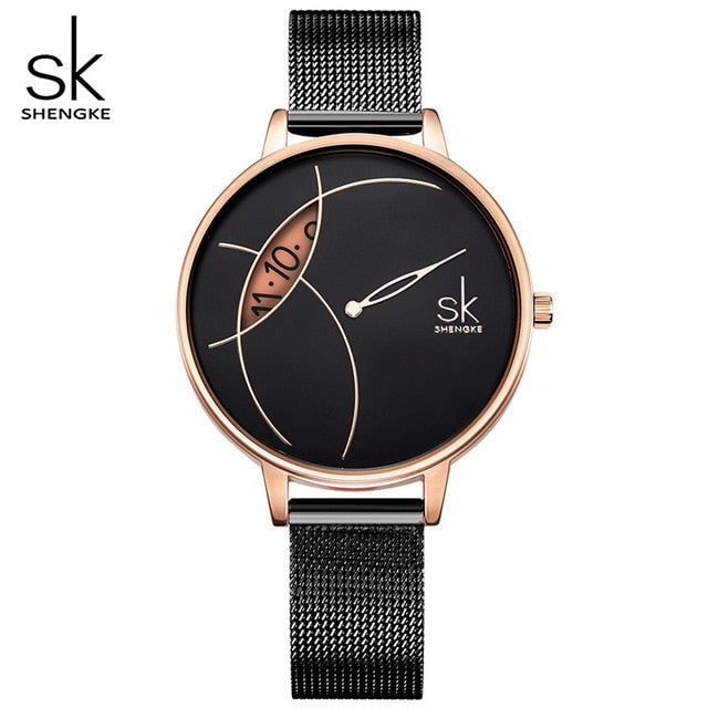 SHENGKE High Quality Women Black Waterproof Ladies Watch Women Quartz Clock Wristwatches Fashion Women's Dropshipping Watches