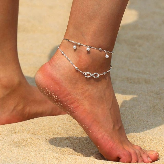 Vintage Gold Silver Anklets for Women Elephant Pendant Charms Box Chain Beach Summer Foot Ankle Bracelet Wholesale Jewelry