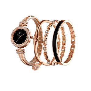 4 PCS Suit Elegant Bracelet Watch Ladies Luxury Fashion Quartz Watch Wristwatch Rose Gold Diamond Watches Women Clock Orologio