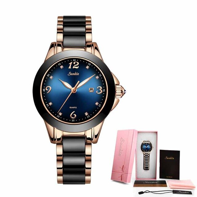 SUNKTA Fashion Ladies Watches Women Top Brand Luxury Ceramic Rhinestone Sport Quartz Watch Women Blue Waterproof Bracelet Watch