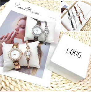 Luxury Fashion Bracelet Brand Rhinestone Watch Exquisite Gift Box Lady Silver Gold Steel Quartz Watches montre femme clock reloj