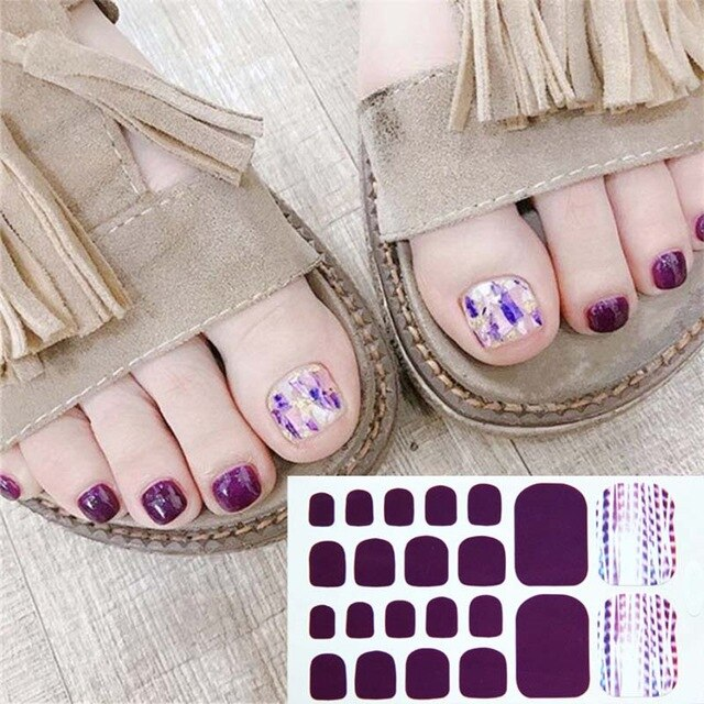 D35 Toe Nail Wraps Toe Nail Stickers Smile Pattern Summer Style Polish Waterproof Manicure  Feet Decorations