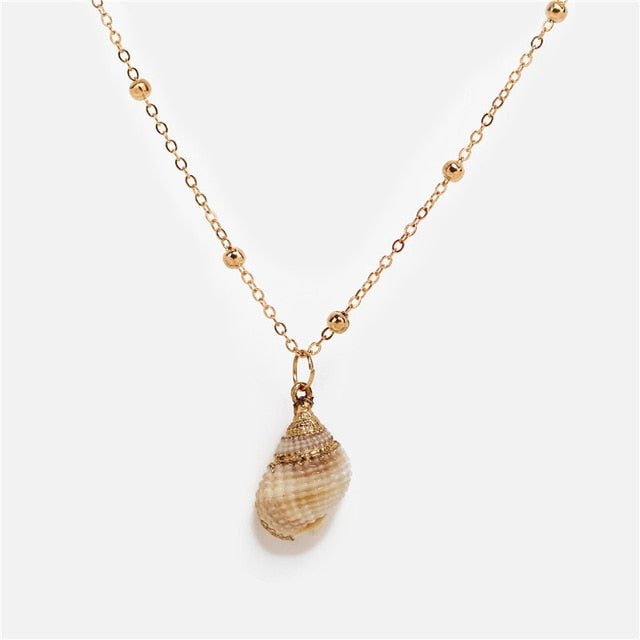 17KM Bohemia Color Natural Conch Shell Necklace Big Geometric Ocean Beach Necklace For Women Party Gift Jewelry