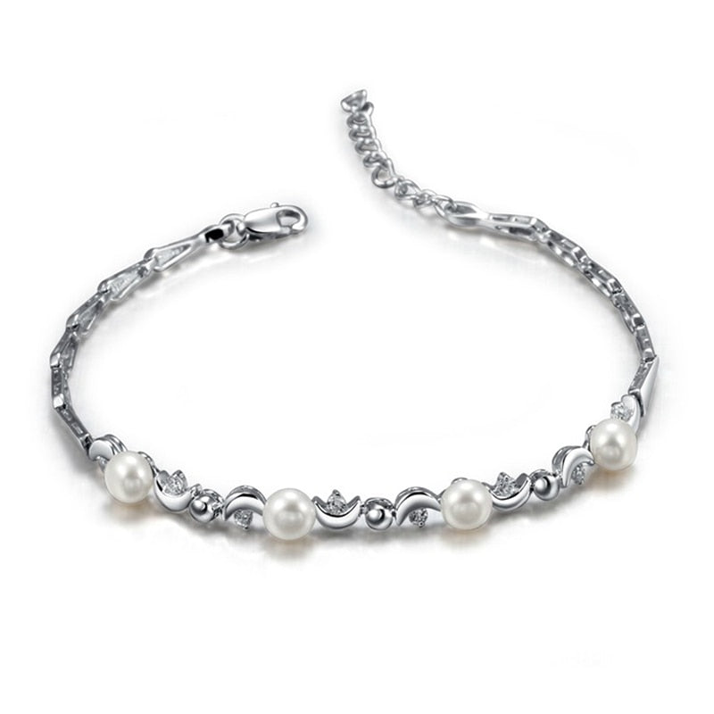 Natural freshwater pearls bracelet anklets for Mother women girls in 925 sterling silver Length 16.2cm+4cm