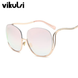2017 Rimless Gradient Sunglasses Women Luxury Brand Designer Oversized Round Sun Glasses Ladies Gradient Shades Clear Eyewear