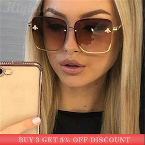 Higodoy Metal Oversized Sunglasses Women Colorful Frame Bee Ladies Vintage Square Luxury Sunglasses Retro Pink Sun Glasses Gafas