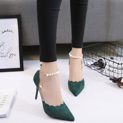 2019 spring new pointed stiletto word buckle single shoes sexy beaded anklet high heel shallow sandals women
