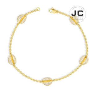 New Fashion Charms Silver 925 Original Copy Jewelry,Yellow Anklet With Small Seashells For Women With Mono Logo New Year Gift