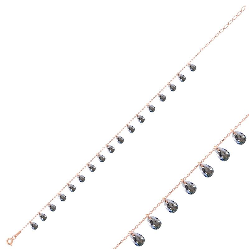 Silver 925 Sterling Dangle Drop Zircon Cubic Zirconia Anklet