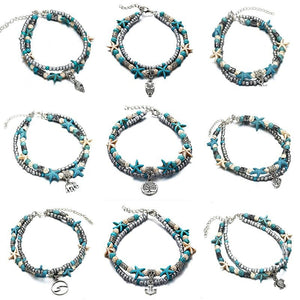 Blue Starfish Turtle Anklet Multilayer Charm Beads Sea Handmade Boho Anklet Foot Jewelry for Women