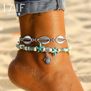 17IF Vintage Multi Layer Turtle Shell Anklets For Women Fashion Handmade Chain Starfish Anklet Bracelets New Summer Foot Jewelry