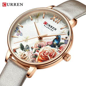CURREN Charming Flower Design Watches Women Fashion Casual Leather Wristwatch Ladies Watch Female Clock Women's Quartz Watch