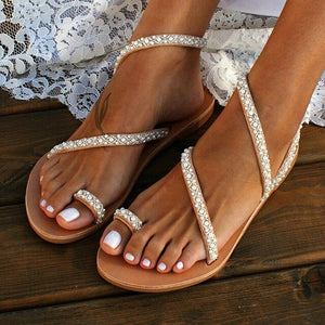 Women Boho Crystal Sandals Cross Toe Ring Flat Sandals for Summer H7JP