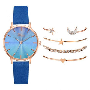2020 Women's Watch Fashion Quartz Watch Gradient Color Dial PU Strap Watch Lady Wristwatch Relogio Feminino