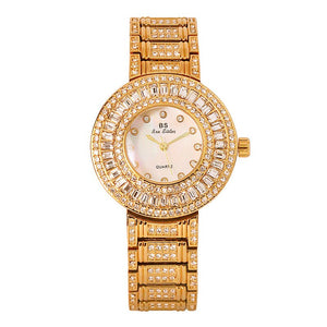 Fashion Luxury Gold Women Watches Diamond Crystal Ladies Quartz Wrist Watch Steel Bracelet date Clock Female Watch relojes mujer