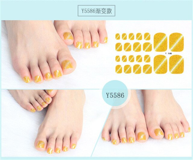 Cat Eyes Toe Nail Sticker Full Cover Self Adhesive Stickers Polish Foils Tips Wrap Glitter Gradient Shiny Nail Decal Manicure