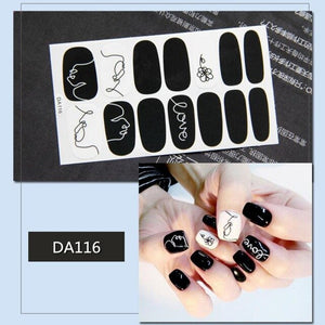 14pc Sexy Leopard Nail Sticker Marble Starry Artificial Nail Sticker Cute Fake Nail Sticker Full Cover False Toe  Manicure Tools