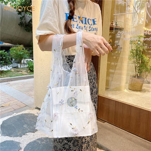 Female Flower Embroidery Hand Bag Organza Casual Tote Mesh Shopping Bags Woman Handbags