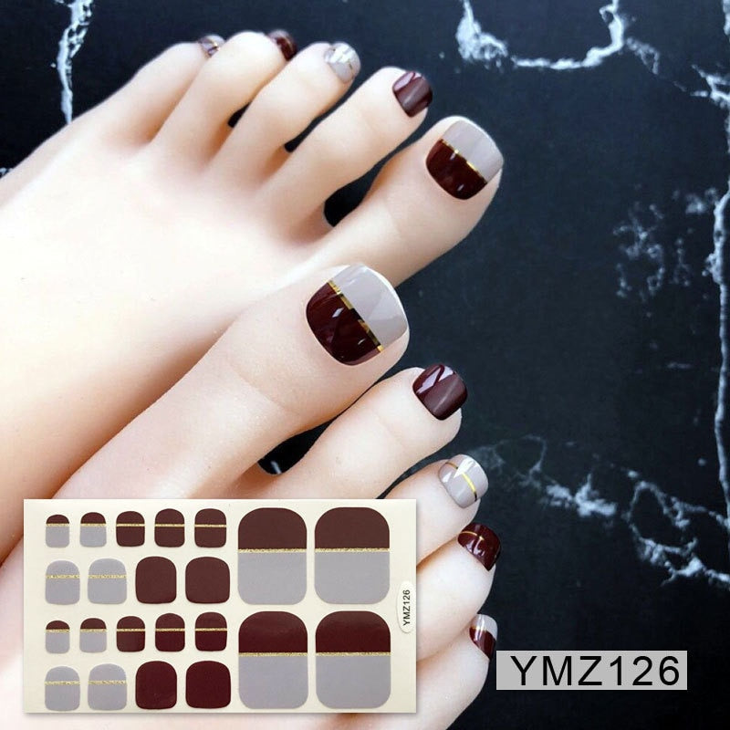 22tips/sheet Eco-Friendly Toenail Sticker Professional Multicolor Toe Nail Wraps Stickers DIY Adhesive Decals Manicure Wholesale