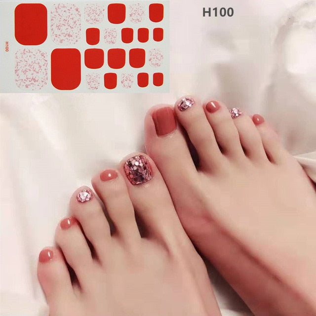 1sheet Charming Toe Nail Sticker Mixed Flowers Sequins 3D Nail Art Tips Adhesive Toenail Art Polish Tips Glitter Manicure Tools