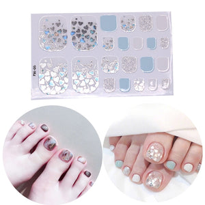 1pc Toe Nail Sticker Adhesive Toenail Art Polish Tips French Glitter Sequins Nail Wraps Strips Easy To Wear Manicure for Women