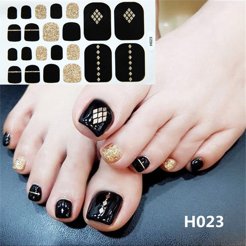 Lamemoria Toenail Art Wraps Summer Moon Star Polish Foot Stickers Sparkle Glitter Adhesive Foils Toe Nails Manicure Drop Ship