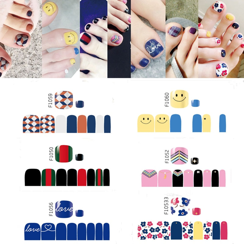 16 Tips NAIL Art Full Cover Self Adhesive Stickers Super Thin Nail Polish Foils Transfer Tips Manicure Nail Tools  F1049-1068