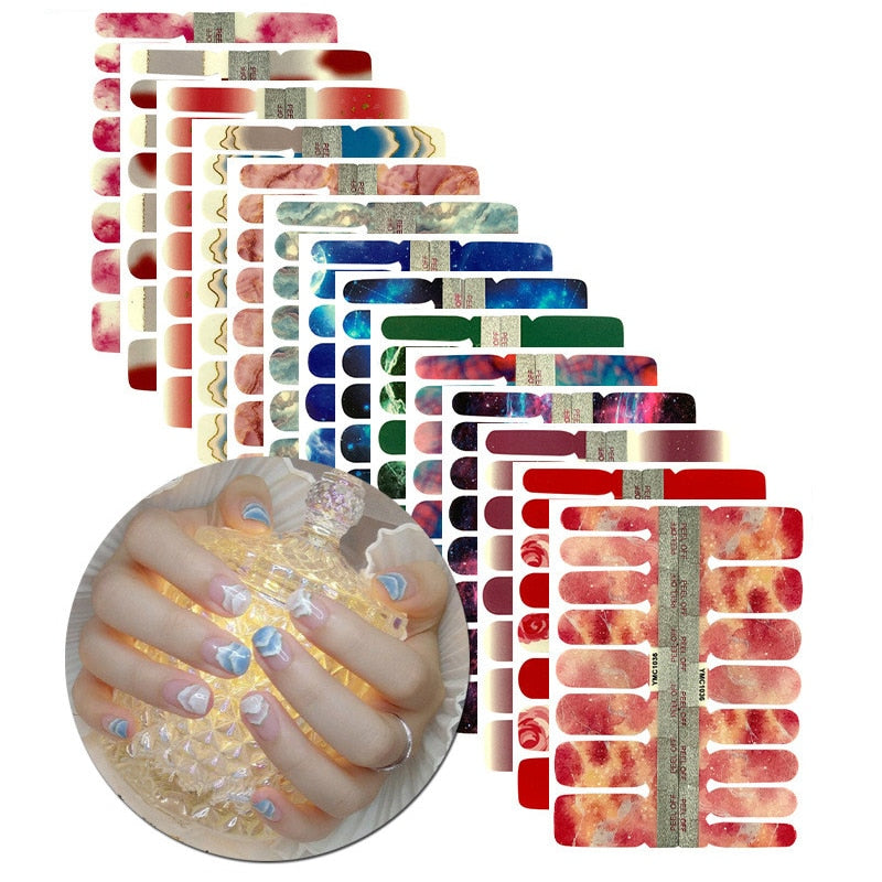 1Sheet Nail Art Sticker YMC Wraps New Blooming Metal Nail Polish Strips Candy Colors Waterproof Full Cover Nail Patch Manicure