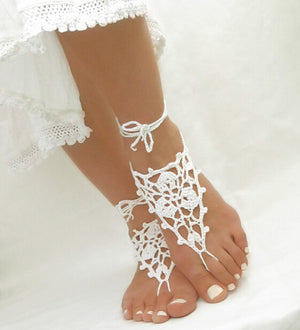 Crochet Barefoot Sandals Beach Pool Wear Toe Ring Anklet Nudeshoes Foot jewelry Victorian Lace Yoga Shoes Bridal Anklet