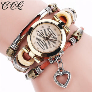 CCQ Fashion Vintage Leather Bracelet Watches Women Casual Love Heart Pendant Wrist Watch Quartz Watch Relogio Feminino Gift 2064