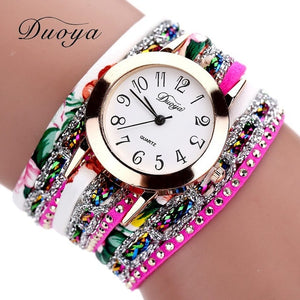 Duoya Brand Fashion Round Dial Quartz Watch Women Flower Wristwatch Steel Luxury Bracelet Watch Multilayer Leather Wrist Watch