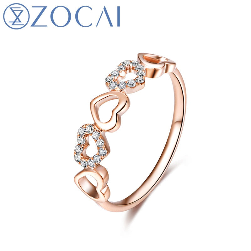 ZOCAI Intimate Lover 0.08 CT Certified Diamond Heart Shape Ring 100% Natural Diamond Wedding Ring 18K Rose Gold (Au750) W03630