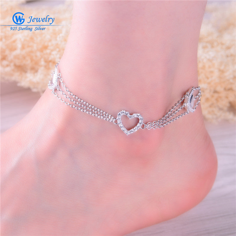 GW Fashion Jewelry 925 Sterling Silver Style Anklets Foot Chain pulseras tobilleras mujer bijuterias Women AC001H20