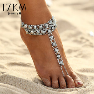 17KM New Vintage Ankle Bracelet Bohemian Flower Anklets Leg Jewelry chaine cheville Silver Color Tassel barefoot sandals