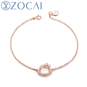 ZOCAI 2017 New Arrival Chi-Bi Sakura Real 0.10 CT Diamond Blacelet 18K Rose Gold (Au750) S80073T