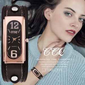 CCQ Brand Fashion Genuine Leather Women Watch Vintage Casual Ladies Analog Quartz Watch Relogio Feminino Gift Hot Selling