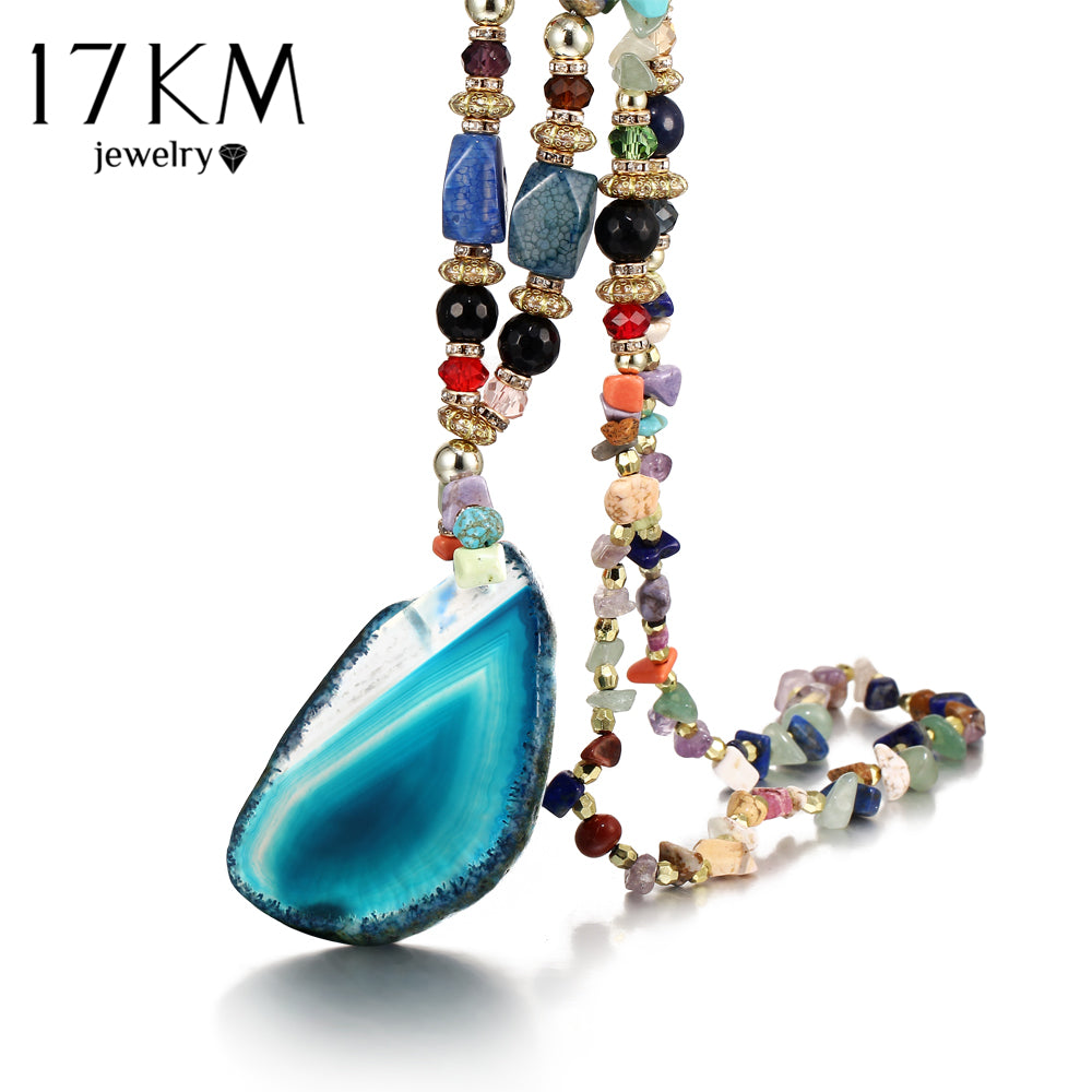 17KM Retro Bohemia Multicolor Stone Water Drops Necklace For Woman Alloy Round Irregular Big Pendant Necklaces Fashion Jewelry