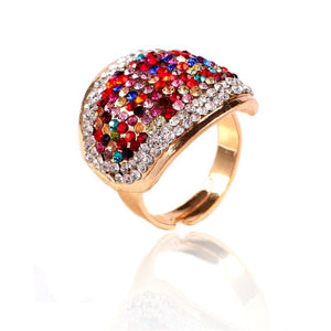 Exaggerated Colorful Rhinestone Statement Ring