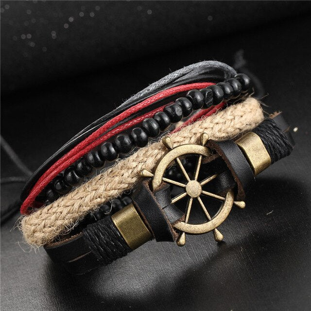 17KM Fashion Eye Leather Bracelets Bangles For Women Wristband Jewelry 2018 Vintage Charm Bracelet Set Pulseira Masculina New