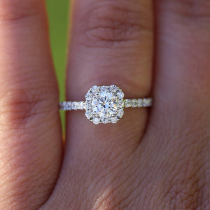 14K White Gold Round 3 Carat DF Moissanite Engagement Halo Ring with Small White Round lab Diamond Wedding for Women