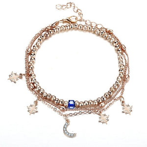 17KM Bohemian Star Moon Beads Anklets For Women 2018 Vintage Multi Layer Anklet Bracelet Charm Beach Jewelry Wholesale