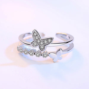 Crystal Double Butterfly Open Rings