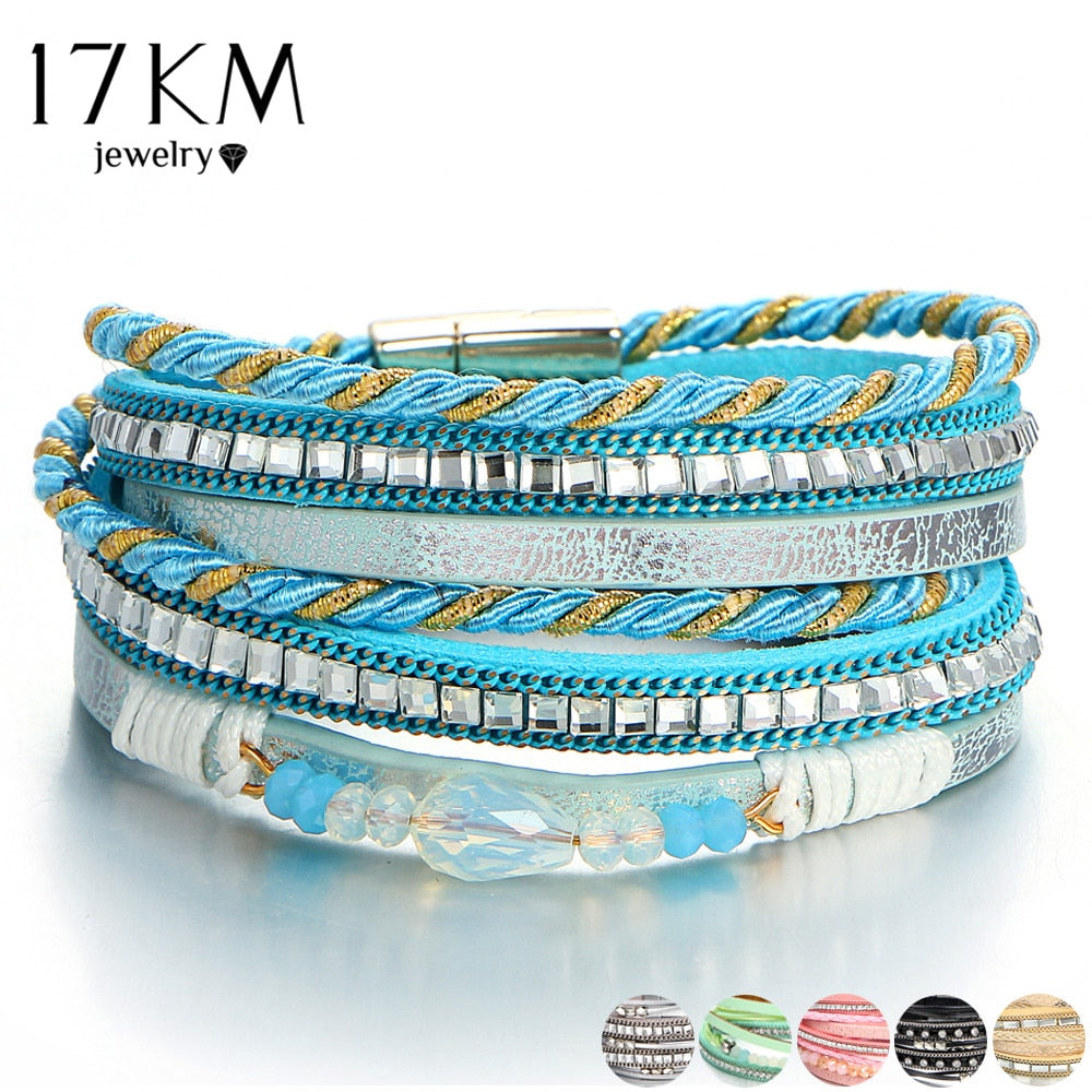 17KM New 2018 Bule Beads Charm Bracelet For Woman Multiple Layers Leather Bracelets & Bangles Rope Fashion Female Jewelry