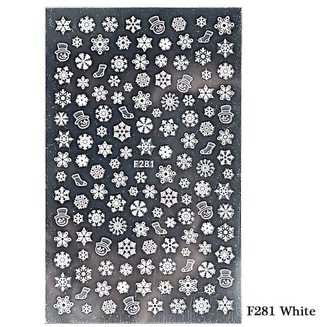 1pcs Christmas Nail Stickers Decals Snow Flakes Xmas Wraps Snowman Winter Nail Art Decorations Manicure Tools Sliders BEF281-284