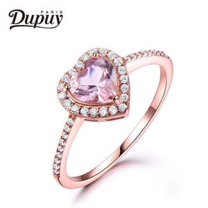 DUPUY 2018 VS 6mm Heart Cut Morganite Ring Floral Halo Diamond Gemstone Ring Stackable Ring Vintage Ring Jewelry F0094MO
