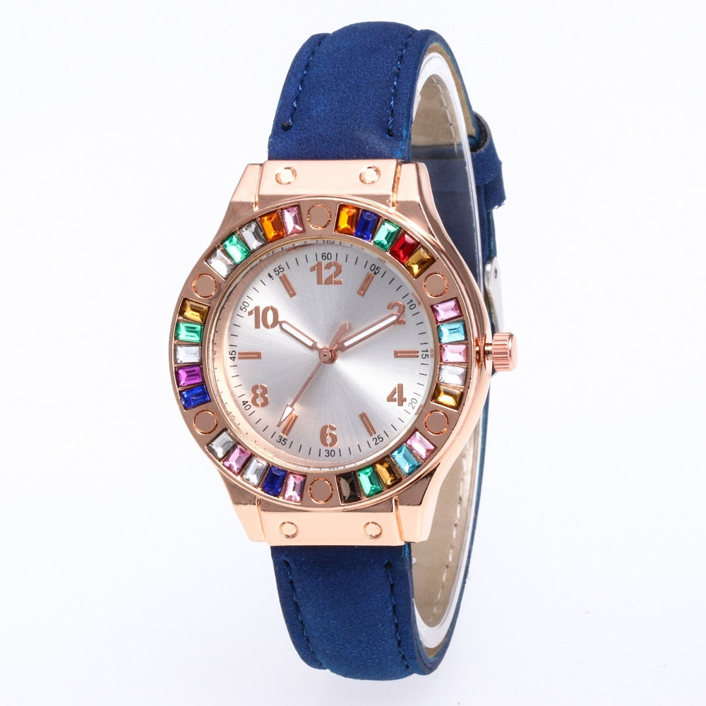 Multi Colored Diamond Leather Watch