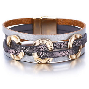 3 Color PUNK Geometric Wide Leather Wrap Bracelet For Women Charm Cuff Bracelets Metal Gold Pulsera Mujer Party Fashion Jewelry