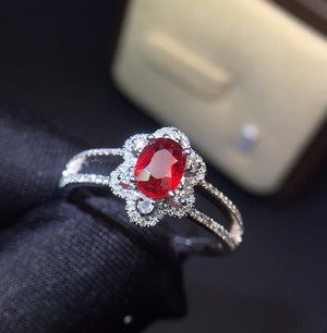 Fine Jewelry 18K White Gold Real Natural Pigeon Blood Red Ruby Diamond Wedding Engagement Female Rings for Women Fine Ring