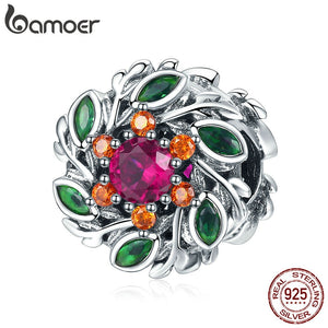 BAMOER Spring Collection 925 Sterling Silver Crystal Flower Hope Wreath Beads Fit Charm Bracelets Valentines Jewelry SCC1062